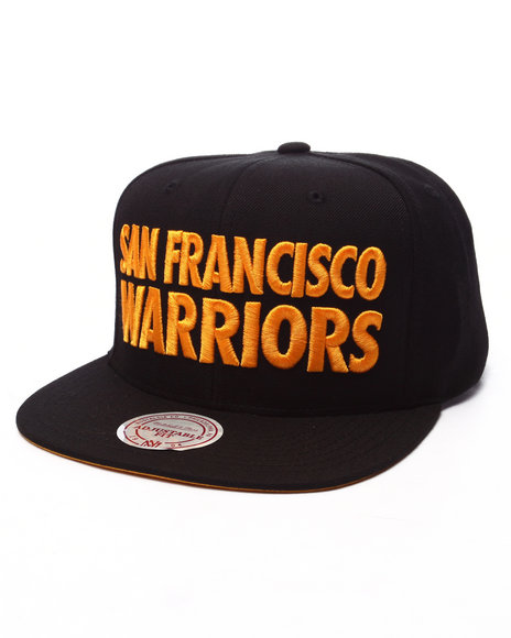 Mitchell & Ness - Men Black San Francisco Warriors Hwc Title Snapback Cap
