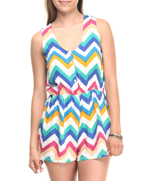 Cotton Express - Women Multi Chevron Stripe Cage Back Romper