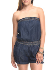 Women - Smocked Tube Denim Romper