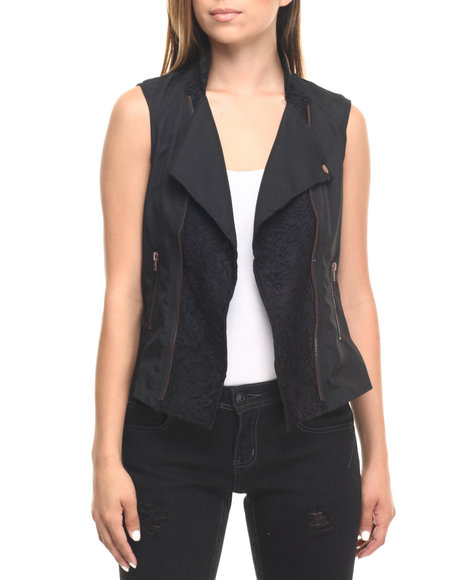 Ur-ID 223558 Cotton Express - Women Black Lace Zip Trim Moto Vest