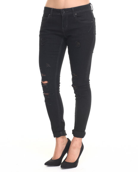 Basic Essentials - Women Black Rebel By Right Darted 5 Pkt Skinny Jean