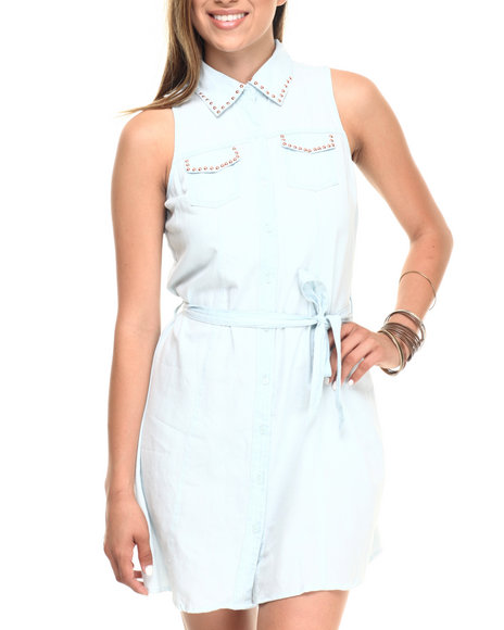 Ur-ID 223561 Cotton Express - Women Indigo Denim Sleeveless Shirt Dress