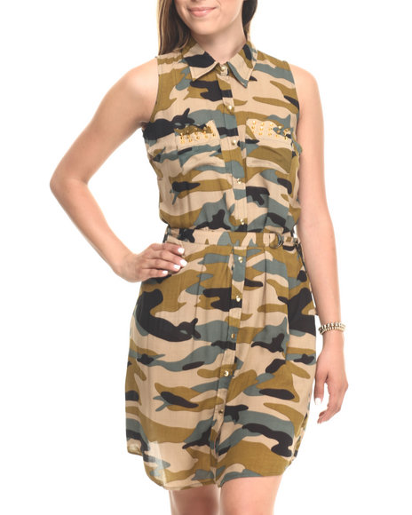 Cotton Express - Women Camo Studded S/L Camo Shirt Dress