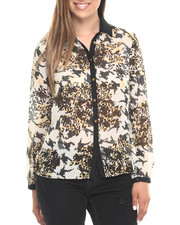 Polos & Button-Downs - Animal Print L/S Chiffon Shirt