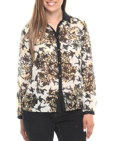 Ur-ID 223563 Cotton Express - Women Off White,Animal Print,Black Animal Print L/S Chiffon Shirt