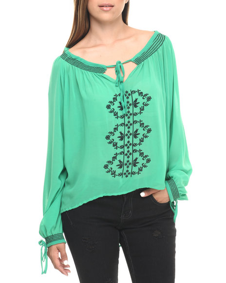 Ur-ID 223564 Cotton Express - Women Green Embroidered Smocked Georgette Peasant Top