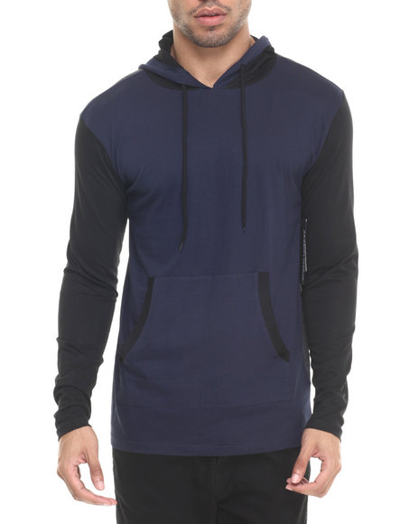 Ur-ID 223618 Basic Essentials - Men Navy Enzo Colorblock Hoodie