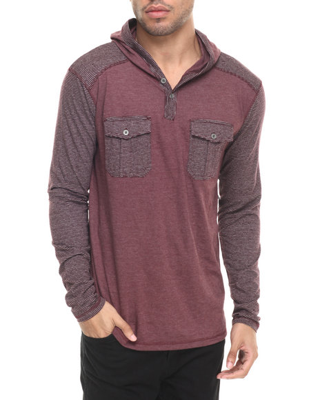 Basic Essentials - Men Maroon Ken Dbl Pocket Hoodie