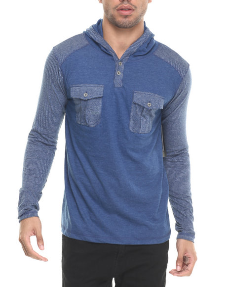 Buyers Picks - Men Blue Ken Dbl Pocket Hoodie