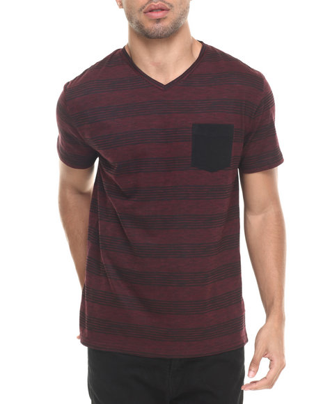Basic Essentials - Men Maroon Jasper V Neck Tee