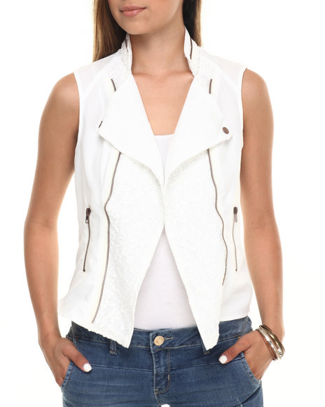 Cotton Express - Women White Lace Zip Trim Moto Vest