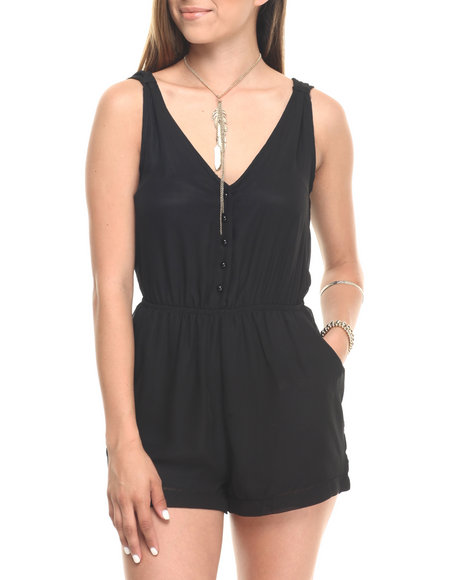 Cotton Express - Women Black Chiffon Pocketed S/L Romper