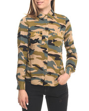 Women - Studded L/S Camo Print Shirt