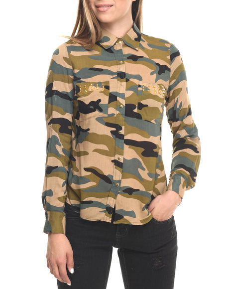 Cotton Express - Women Camo,Olive Studded L/S Camo Print Shirt