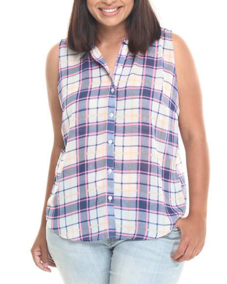 Ur-ID 223576 Cotton Express - Women Navy,Pink Plaid Print Chiffon S/L Split Back Top (Plus)