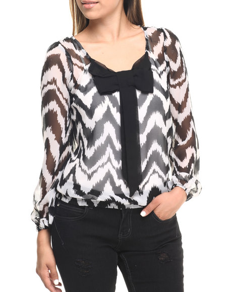 Ur-ID 223577 Cotton Express - Women Black,White,Black,White Bow Front Chevron Print Chiffon L/S Top