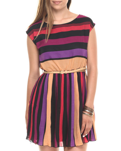 Cotton Express - Women Multi,Multi Striped Pleated Belted Dress