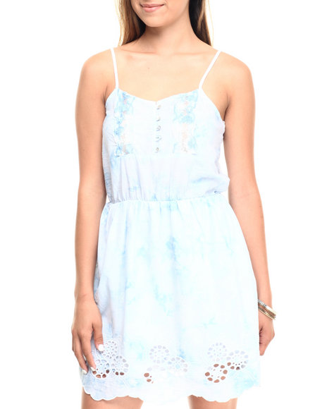 Ur-ID 223579 Cotton Express - Women Blue,White Tie Dye Boho Embroidery Trim Babydoll Dress