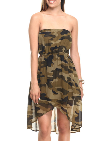 Ur-ID 223586 Cotton Express - Women Camo Chiffon Keyhole Back Camo H/L Hem Dress