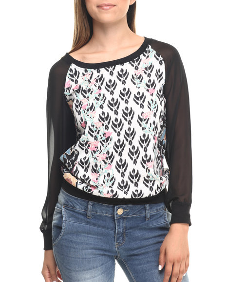 Ur-ID 223588 Cotton Express - Women Multi Floral Aztec Baseball Long Chiffon Sleeve Top
