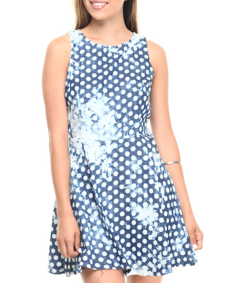 Ur-ID 223590 Cotton Express - Women Cream,Indigo S/L Acid Wash Dot Denim Zip Back Skater Dress
