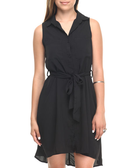 Ur-ID 223591 Cotton Express - Women Black Pocketed Shirt Dress