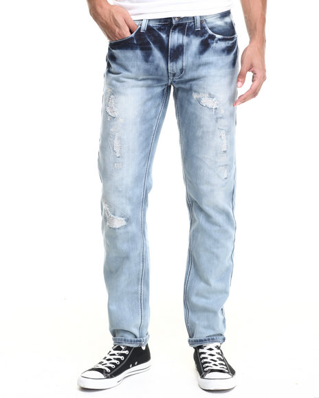 Basic Essentials - Men Light Wash Nine Rip And Repair Slim Fit Jean