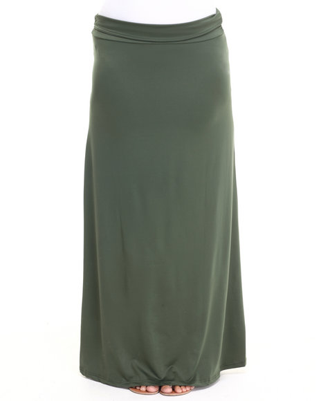 Ur-ID 223596 She's Cool - Women Olive Knit Foldover Maxi Skirt (Plus)