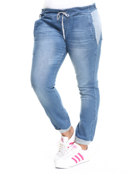 Fashion Lab - Women Medium Wash Knit Denim Jogger (Plus)