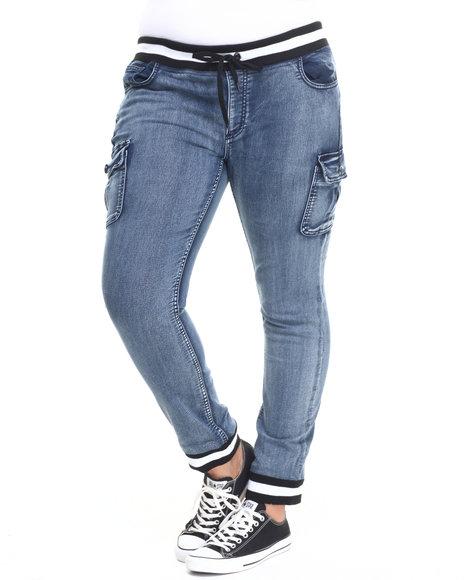 Fashion Lab - Women Dark Wash Knit Denim Cargo Pocket Jogger (Plus)