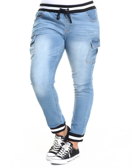 Fashion Lab - Women Medium Wash Knit Denim Cargo Pocket Jogger (Plus)
