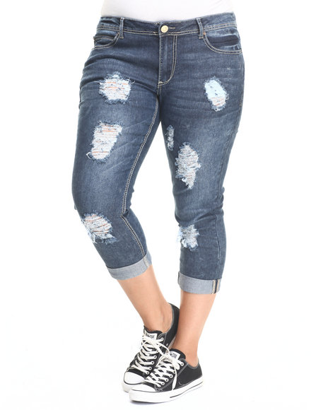 Basic Essentials - Women Dark Wash Rebel By Right Flap Pkt Roll Cuff Ankle Jean (Plus)