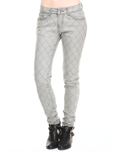 Ur-ID 223695 Basic Essentials - Women Grey Diamond Quilted Skinny