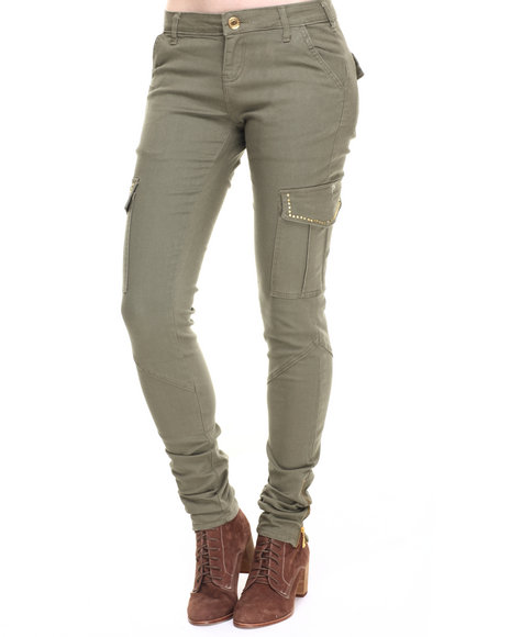 Ur-ID 223703 Fashion Lab - Women Olive Solid Studded Cargo Twill Pant