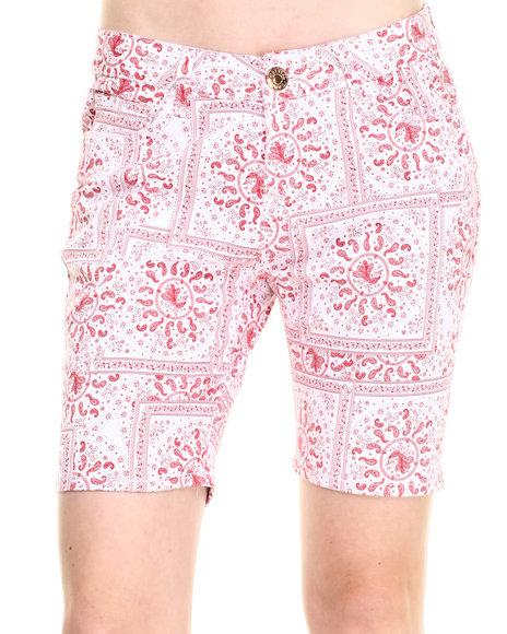 Ur-ID 223705 Basic Essentials - Women Red Bandana Print  Bermuda Shorts