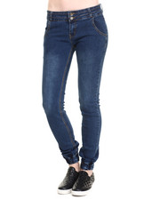Women - Selfie Self Cuff Side Entry Stack Waist Denim Jogger