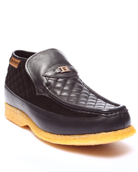 Ur-ID 223750 British Walkers - Men Black Checkers 3 / 4 Quilted Leather / Suede Slip - On Shoes