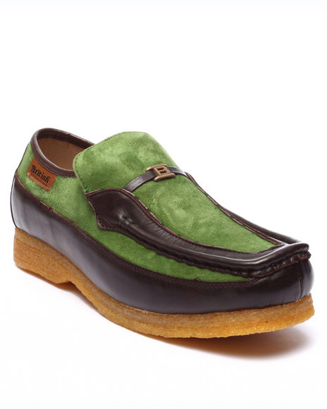 Ur-ID 223752 British Walkers - Men Green Power Leather / Suede Slip - On Shoes