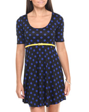 Women - Polka Dot Belted Skater Dress