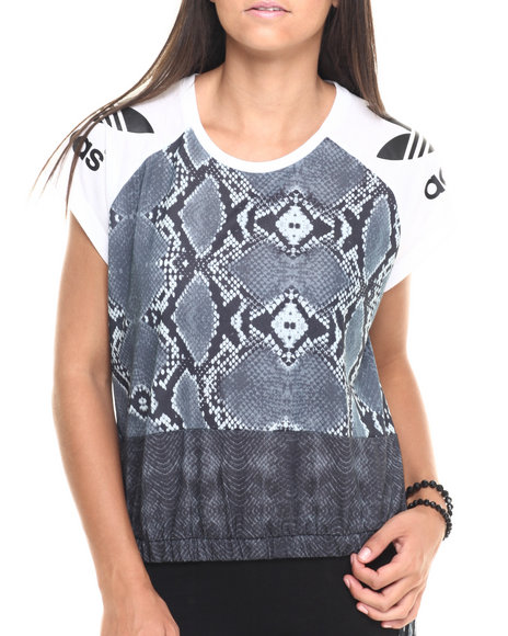 Adidas - Women Black L.A. Printed Mix Tee