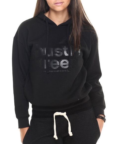 Ur-ID 223813 LRG - Women Black Hustle Trees Dolman Hoodie