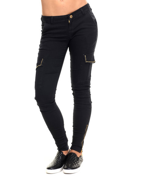 Basic Essentials - Women Black Solid Studded Cargo Twill Pant