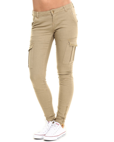 Basic Essentials - Women Khaki Solid Studded Cargo Twill Pant