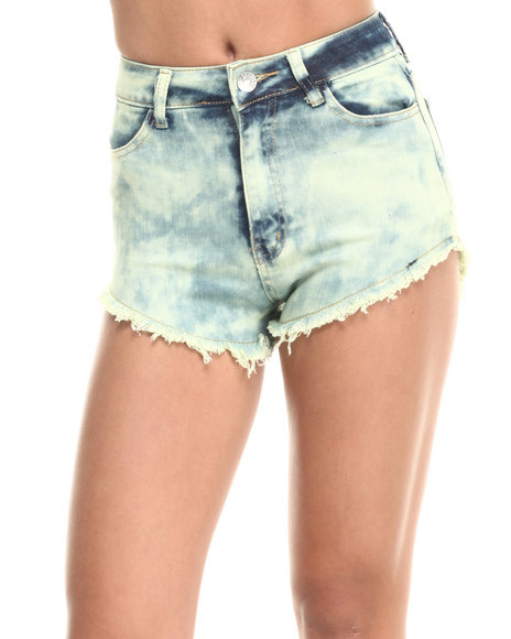 Ur-ID 223793 Basic Essentials - Women Lime Green High Waist Over Dye Shorts
