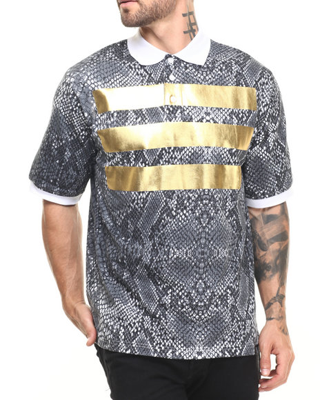 Eight 732 - Men Black Snake Skin Polo
