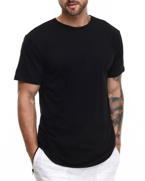 Ur-ID 223776 EPTM. - Men Black Essentials Elongated S/S Tee