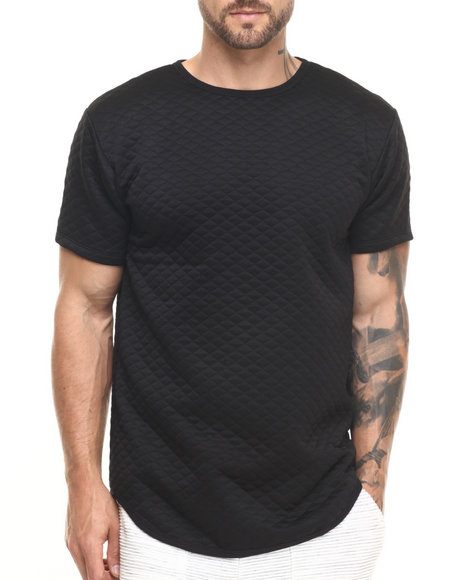 Eptm. - Men Black Essentials Quilted Elongated S/S Tee - $30.00