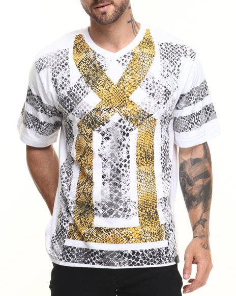 Eight 732 - Men White Snake Gold T-Shirt