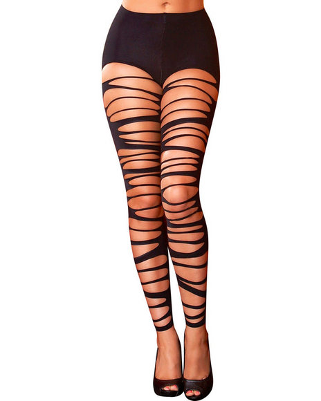Ur-ID 223822 Hustler Lingerie - Women Black Shredded Leggings