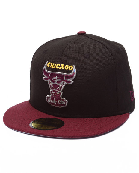 New Era - Men Black Chicago Bulls Bordeaux Edition Fitted Hat